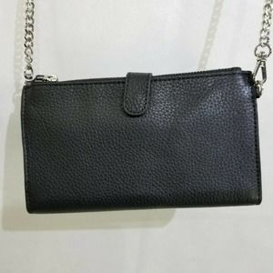 Saks Fifth Avenue Black Leather Wallet on a Chain